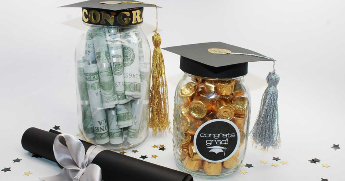 DIY graduation jars filled with money and candy