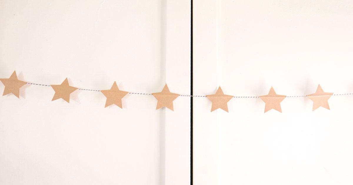 Star banner made from brown kraft sticker paper