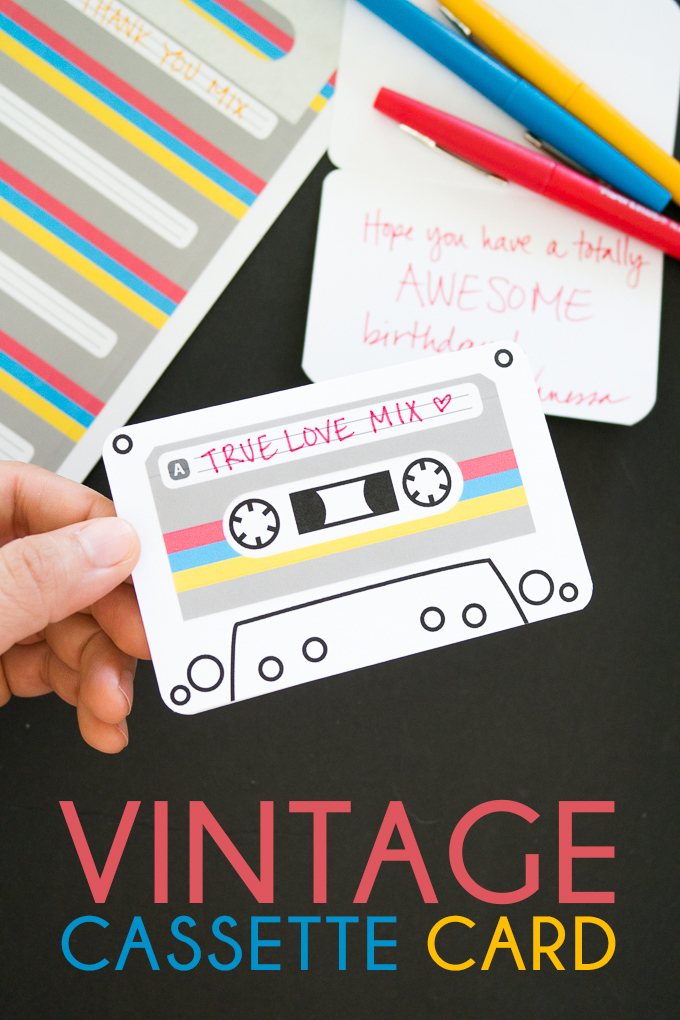 Pinterest project: diy cards that look like old-school cassettes/mix tapes