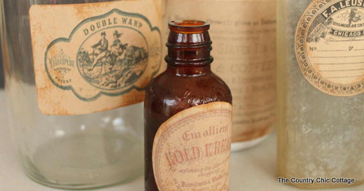 Homemade, fake, DIY vintage product labels on a variety of old-school jars, bottles, and containers