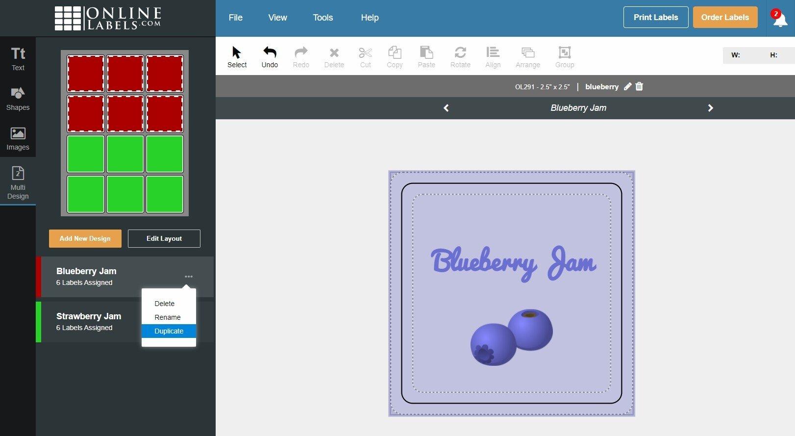 Duplicate design button