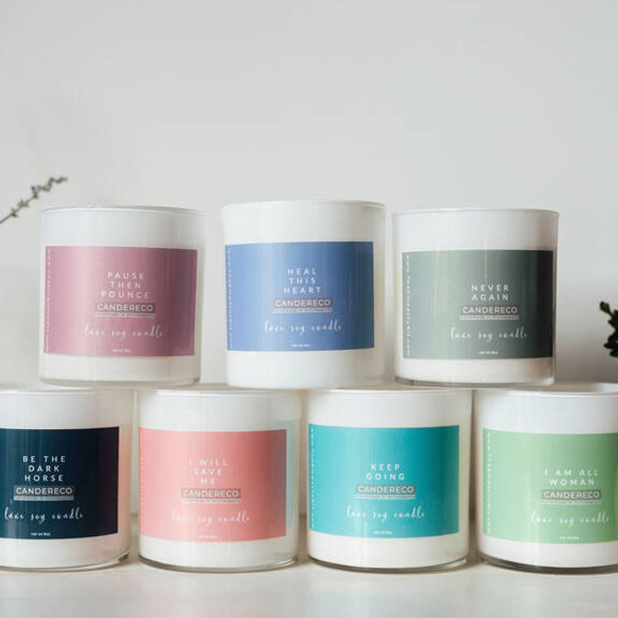 Line of pastel candle labels