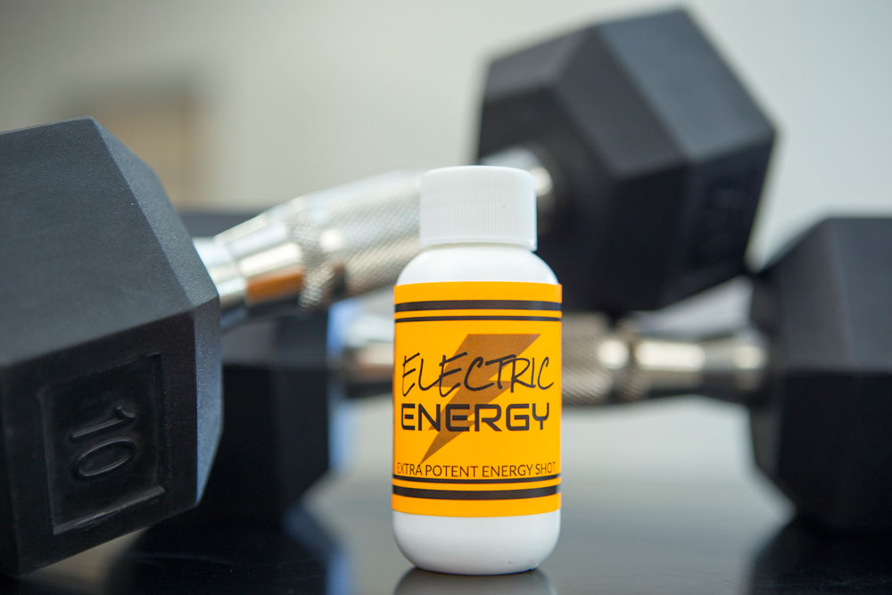 Energy shot with fluorescent label.
