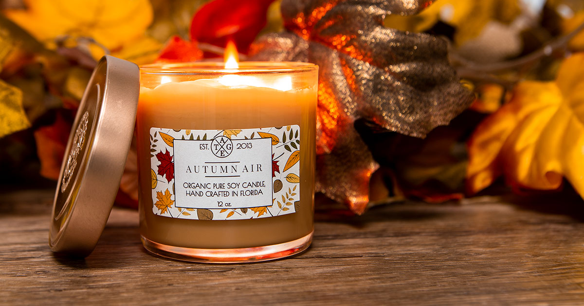 Fall leaf-themed candle label template in use