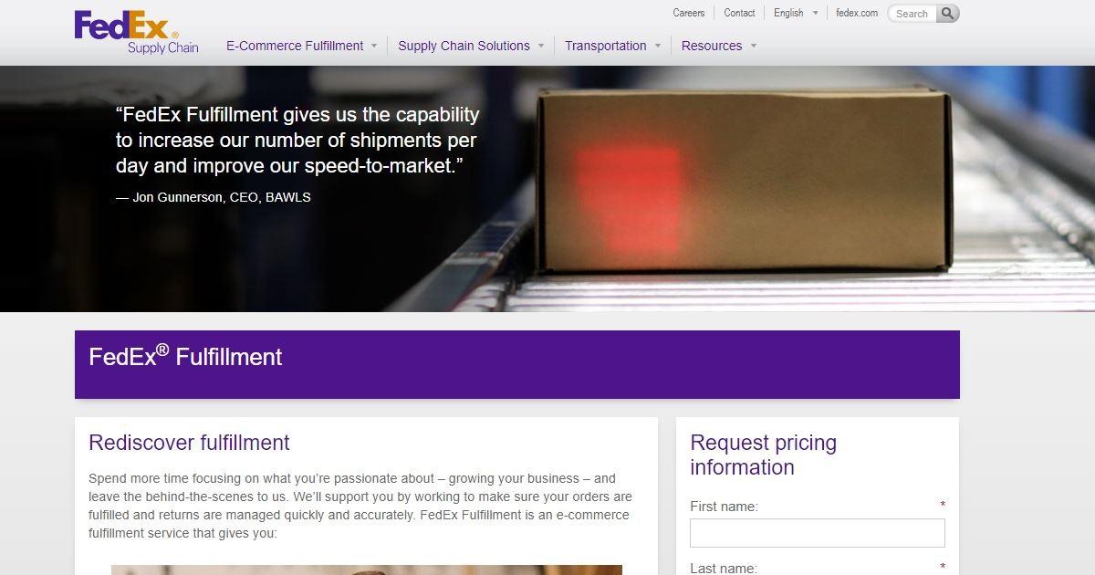 FedEx Fulfillment homepage