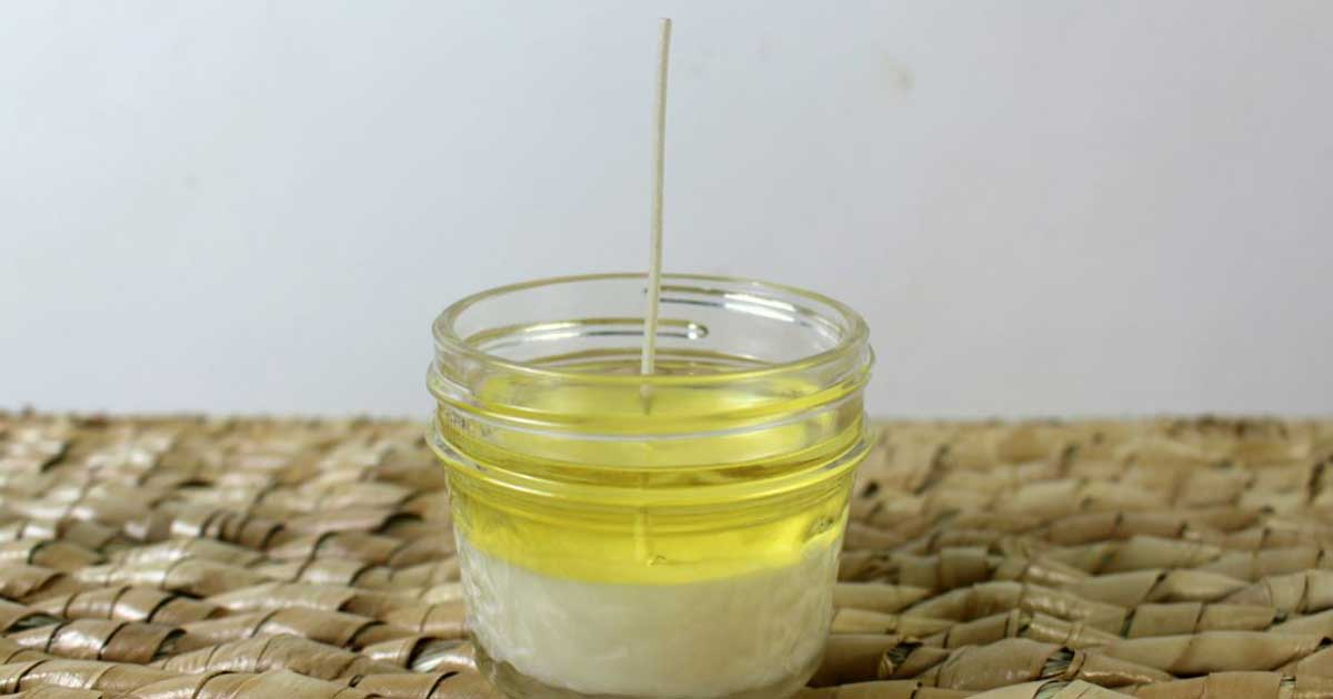 DIY soy candles: Let the first set of candle wax dry then fill the rest