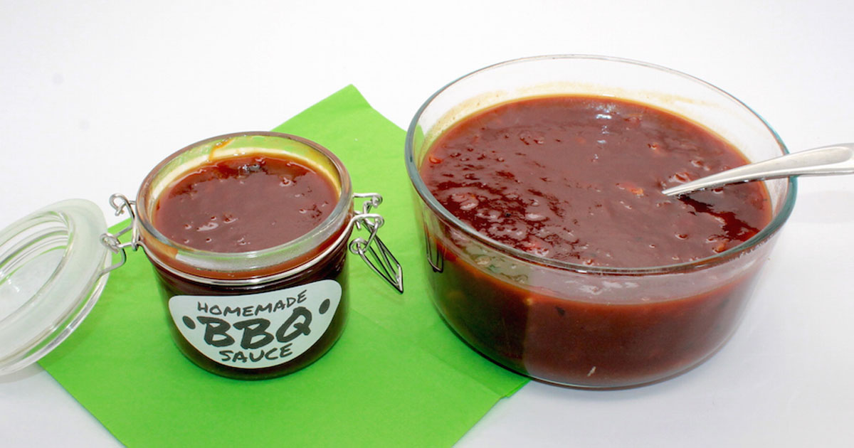 Pouring sauce into jars