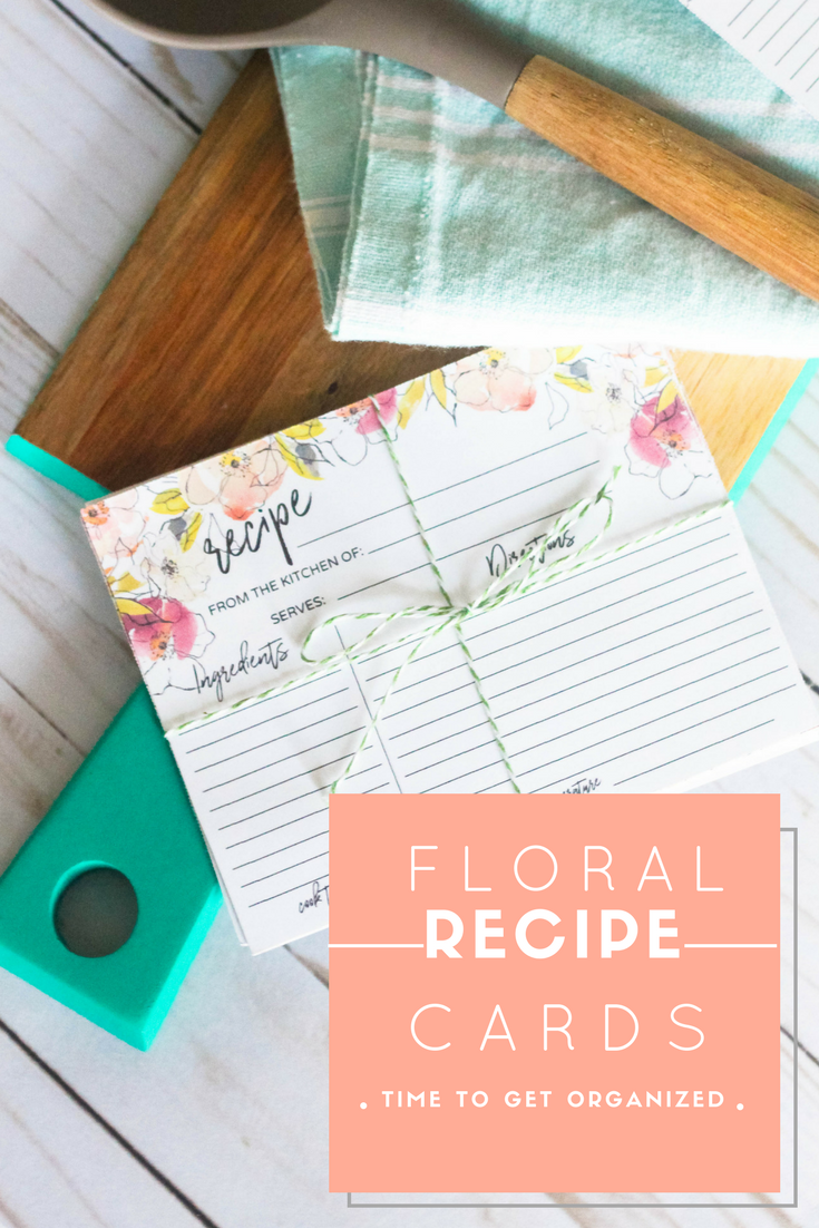 Organize your recipes with printable floral recipe cards; tutorial + free printable
