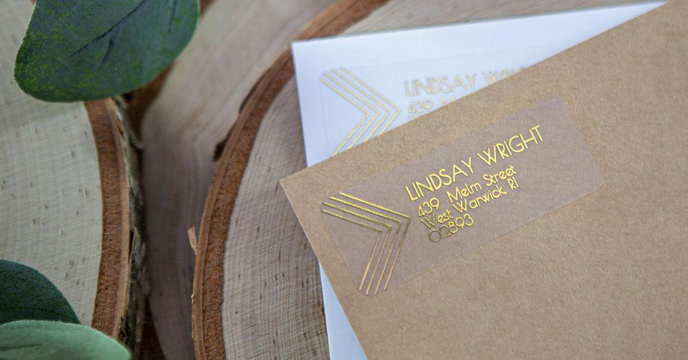 Foiling sticker paper to make custom address and return address labels