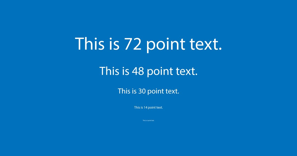 Example of how text sizes really look