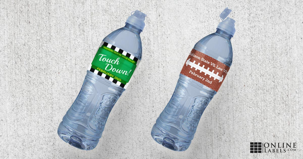 Free water bottle label templates for February Sunday's big football game