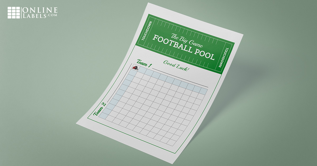 Free gambling party game template for Sunday football: score squares