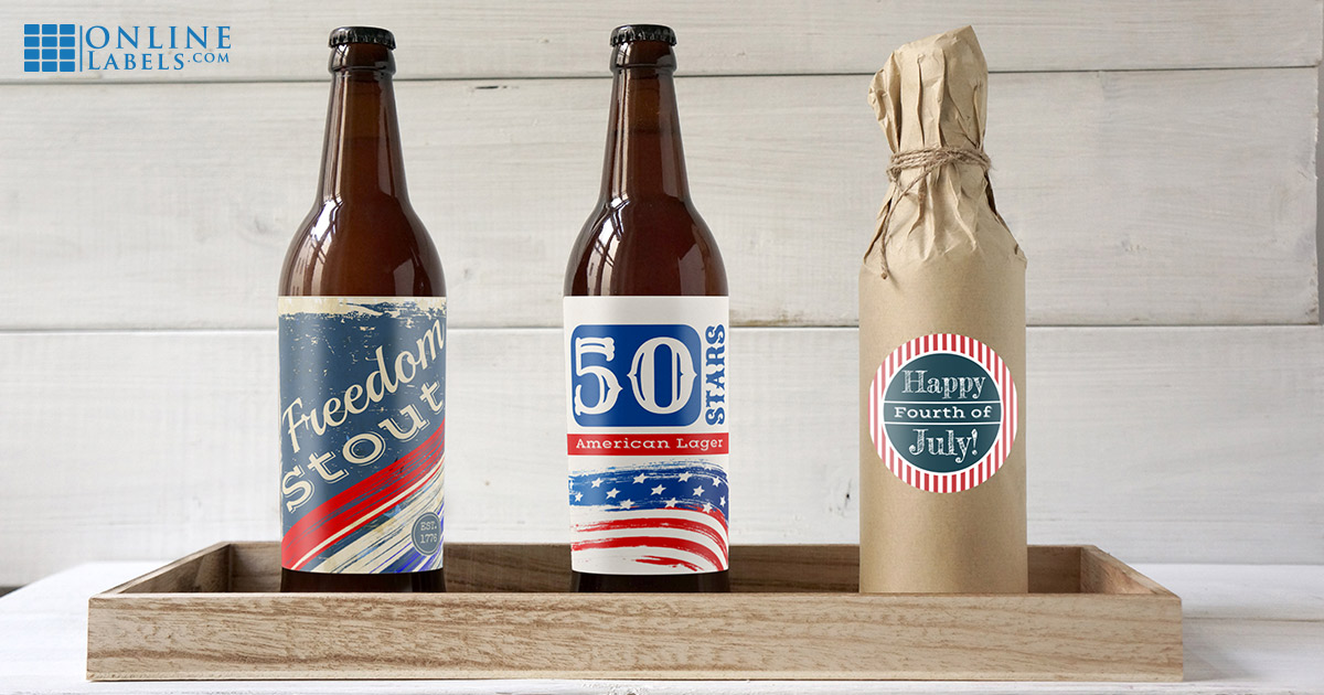 Celebrate July 4th with these free printable templates for water bottles, wine bottles, and beer bottles