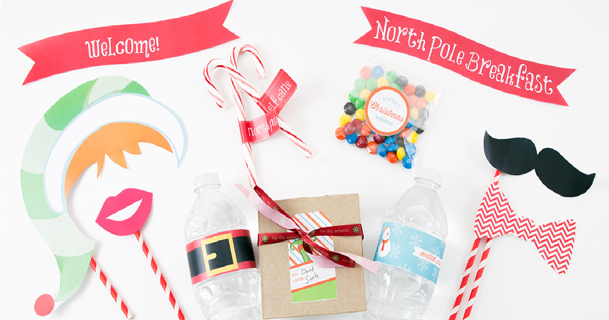 Christmas party decor with DIY label printables