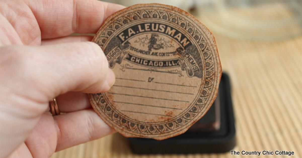 Finished DIY vintage label