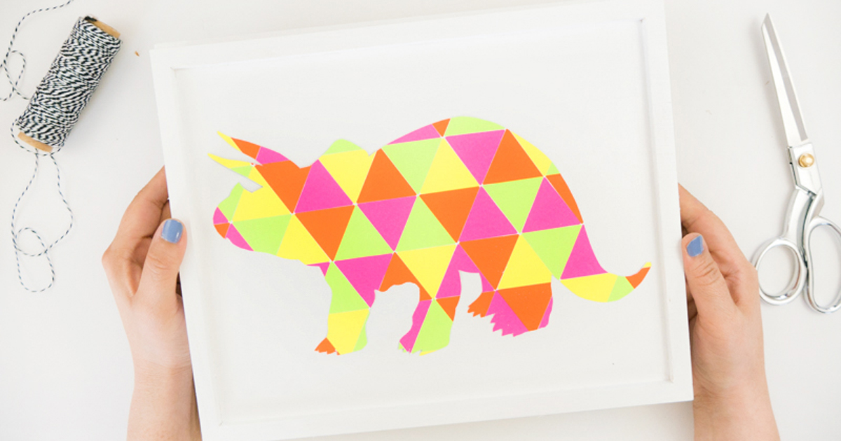 Triceratops made from triangle stickers