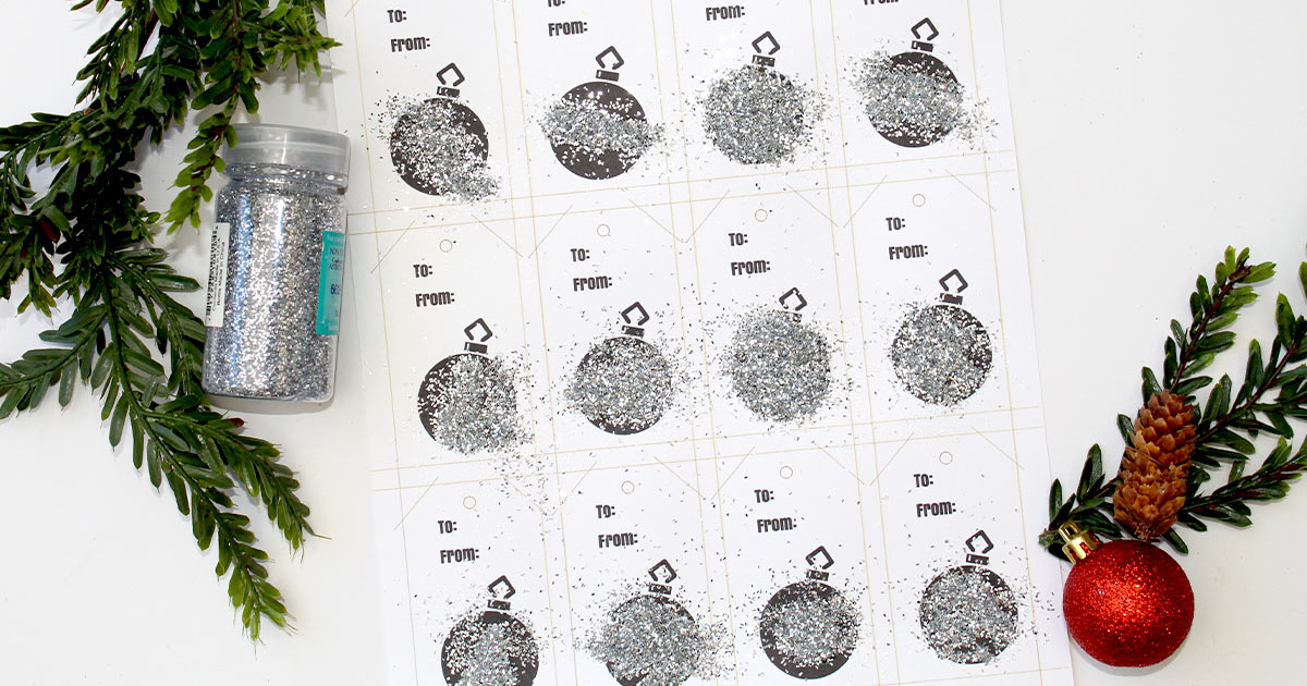 Pour glitter onto your gift tags.