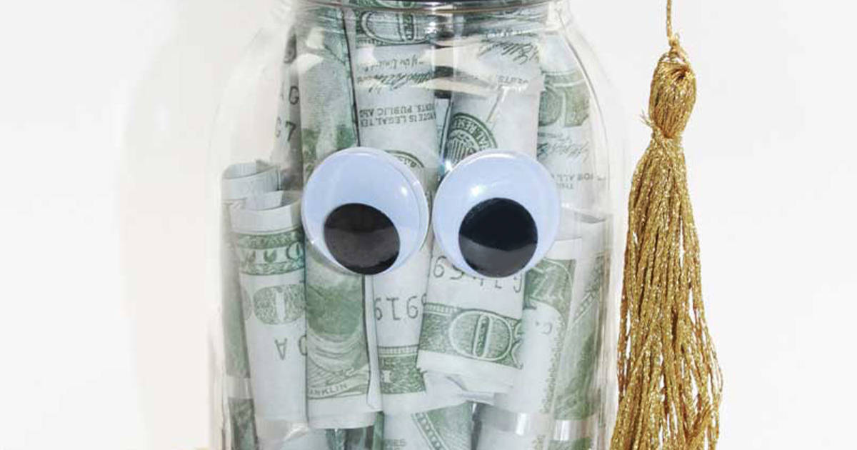 Graduation jar project with googly eyes