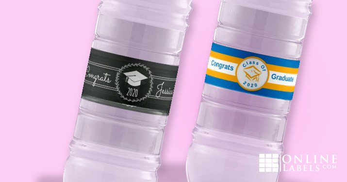 Celebrate a recent grad with these fun water bottle label templates, free download, customize with their school colors + name + year