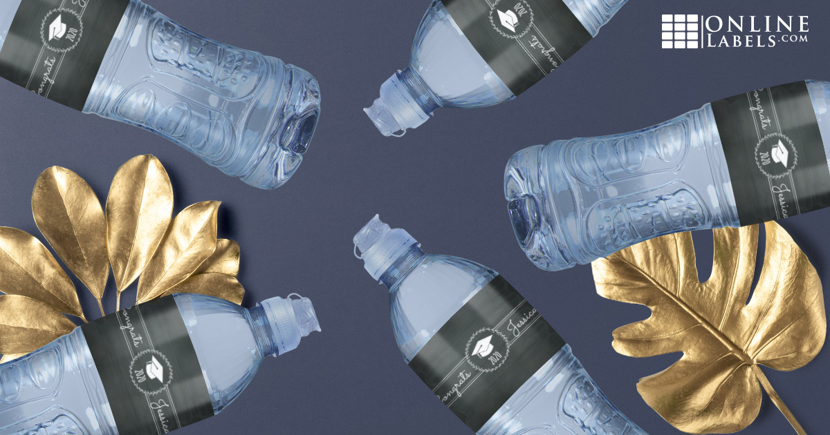 Wrap water bottles in one of these free printable label templates for your big graduation party