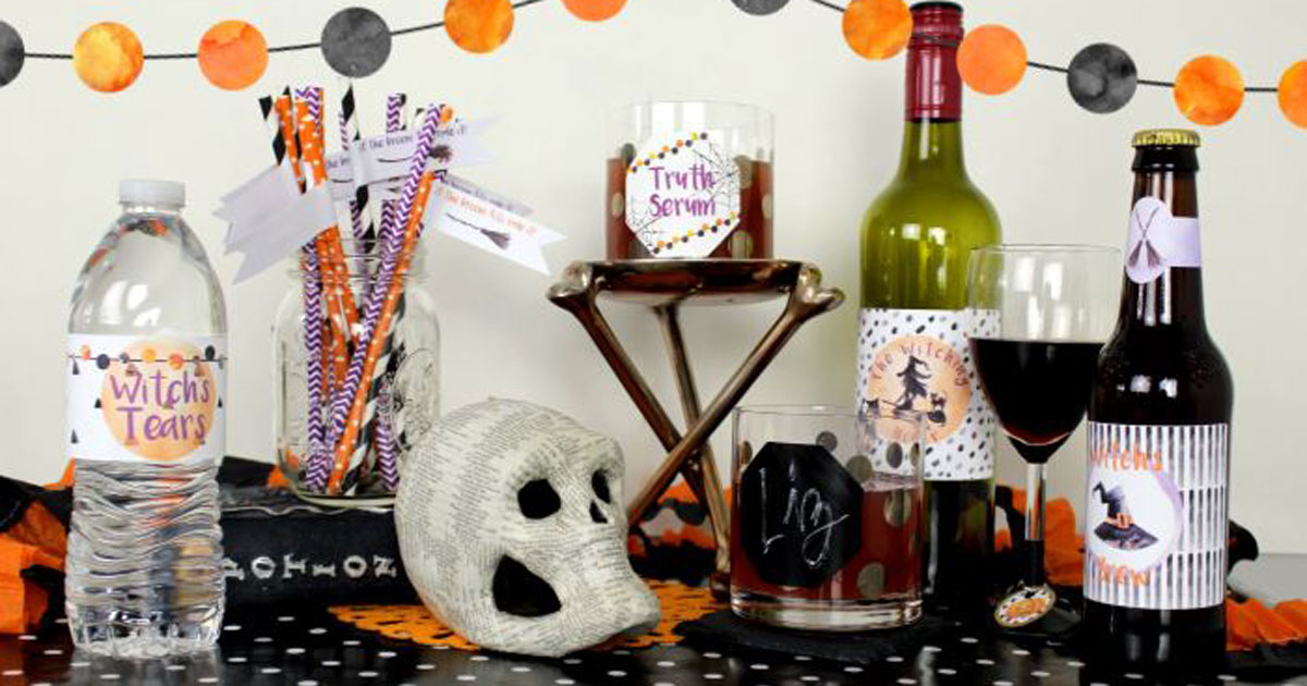 Halloween party decor: food and drink label templates
