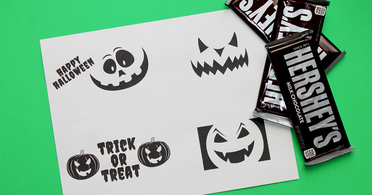 Full-sized Hershey's bars and printable labels.