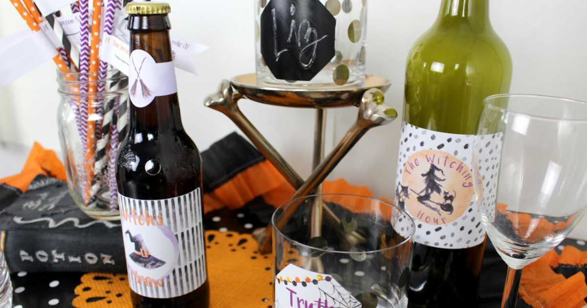 Drink and decor label templates for Halloween