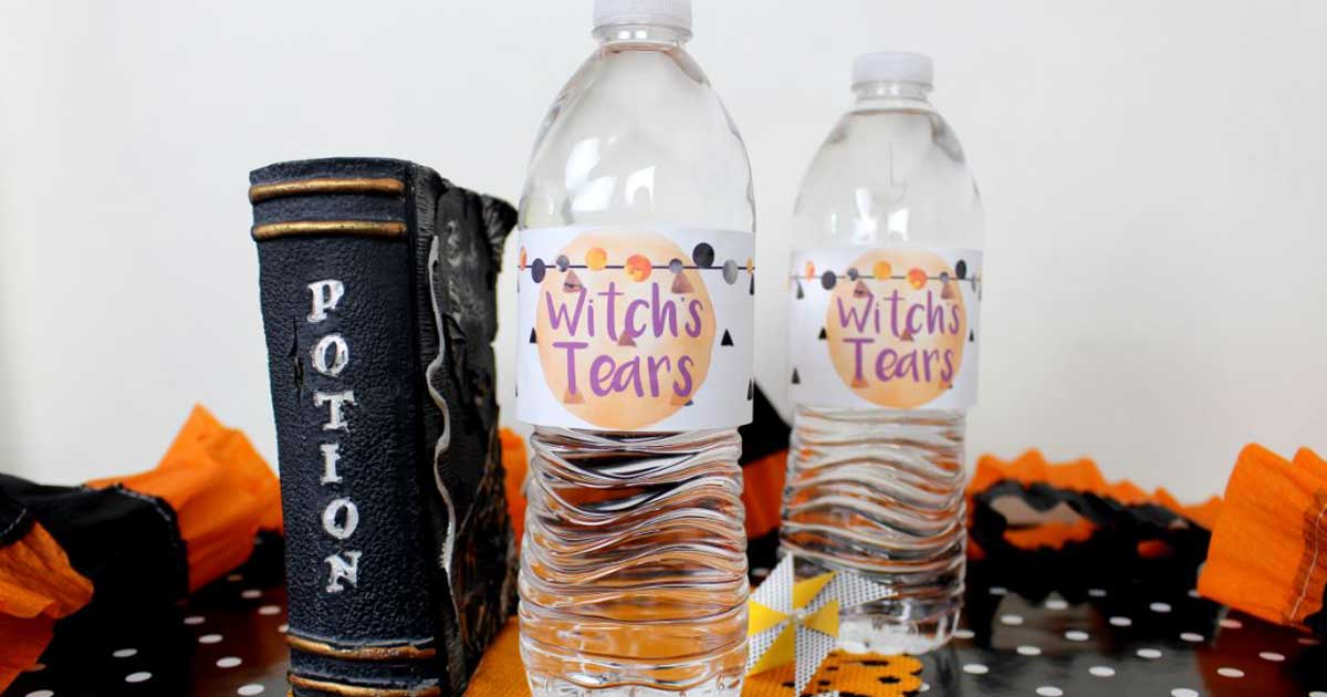 Water bottle label template for Halloween