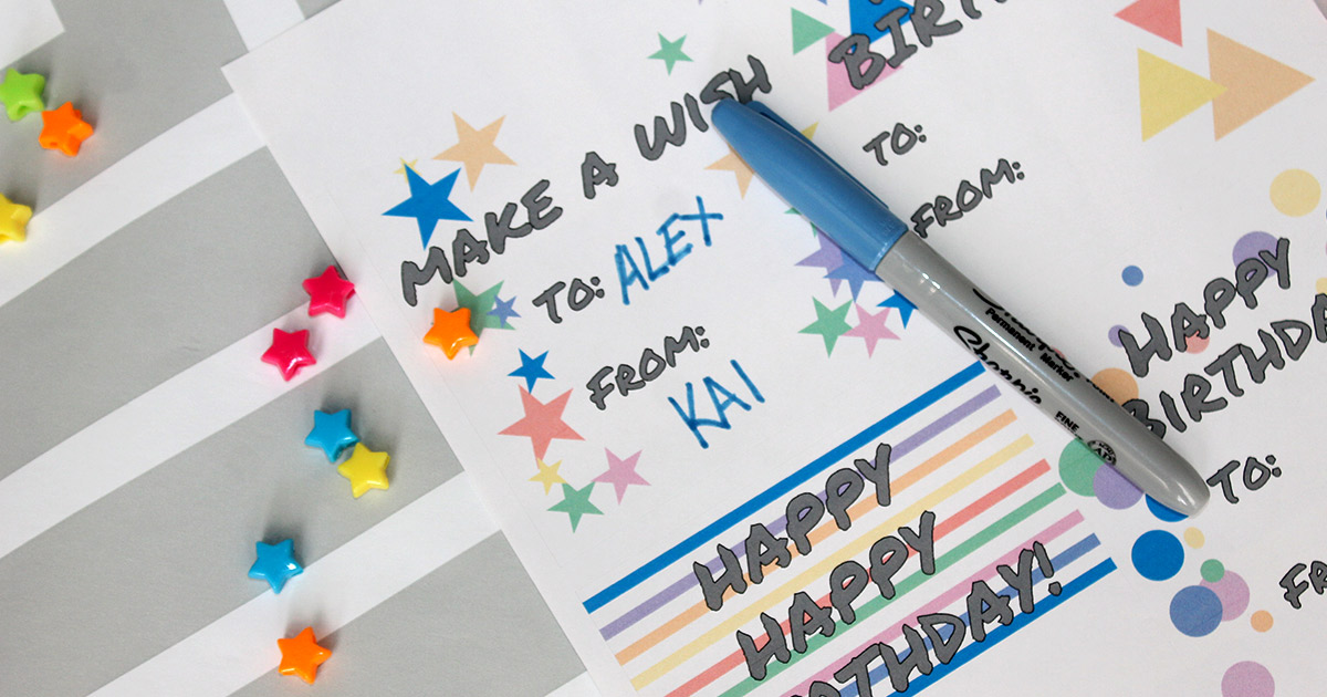Hand-write on your birthday gift tags.