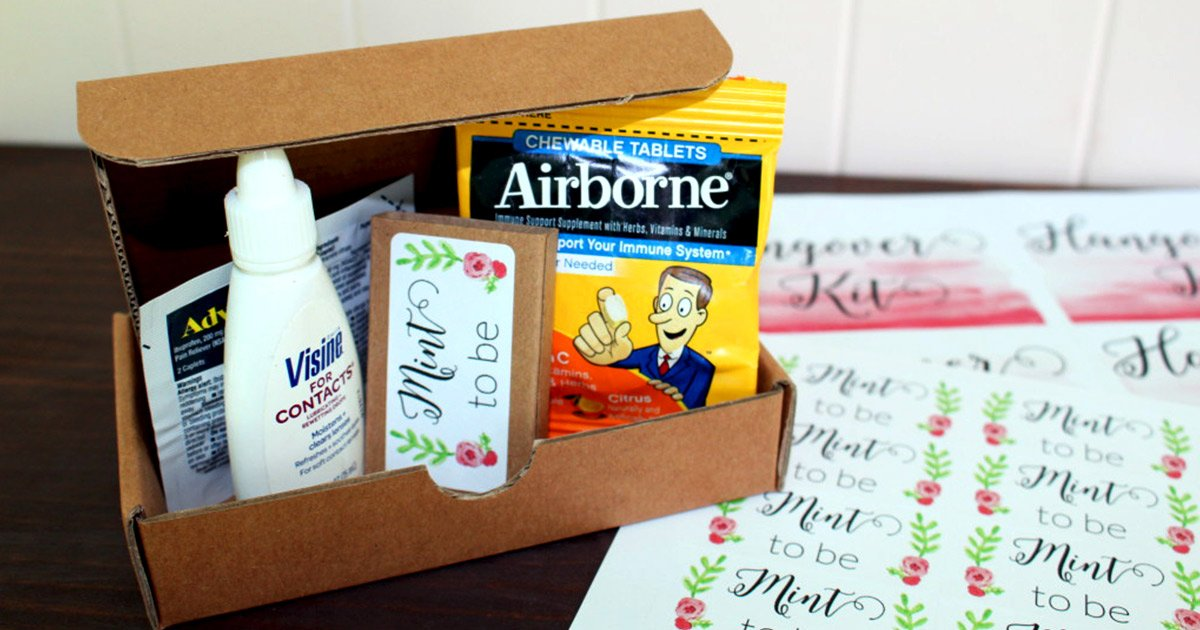 Help guests recover from your crazy wedding party with this kit of hangover essentials, included in their welcome bag