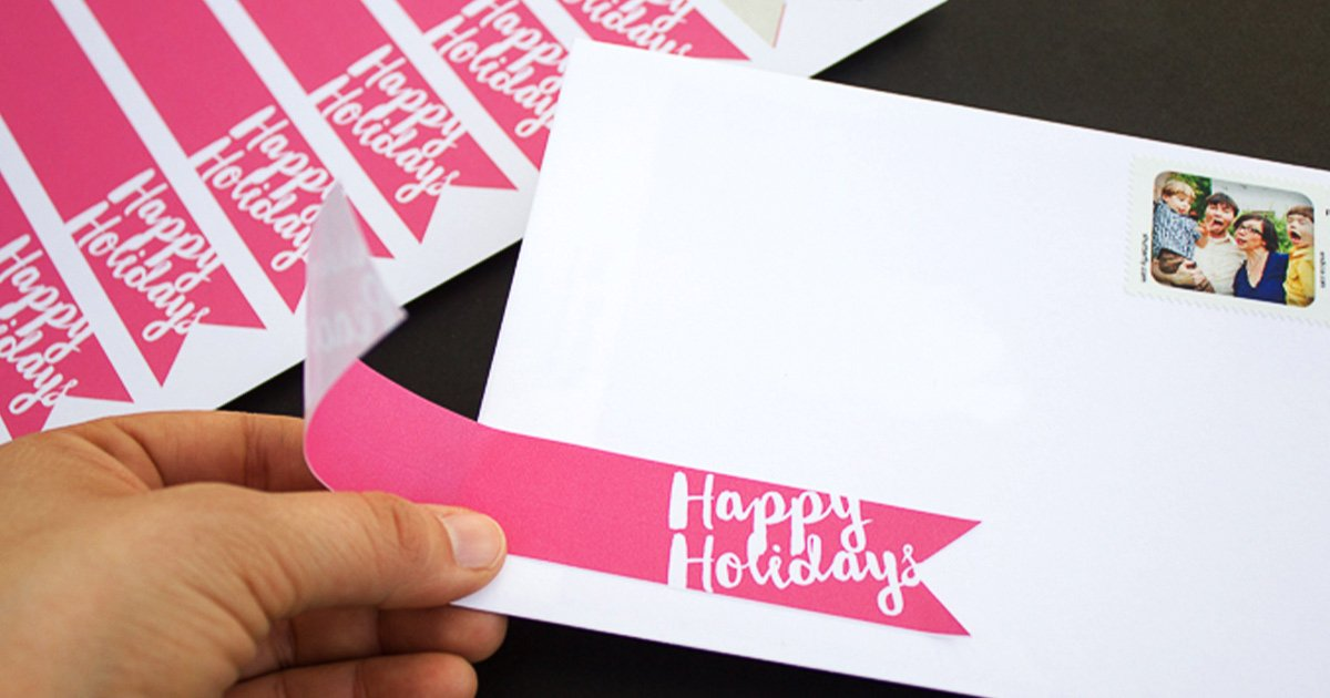Free printable wrap-around label template set for holiday cards and mail, how to use: Happy Holidays