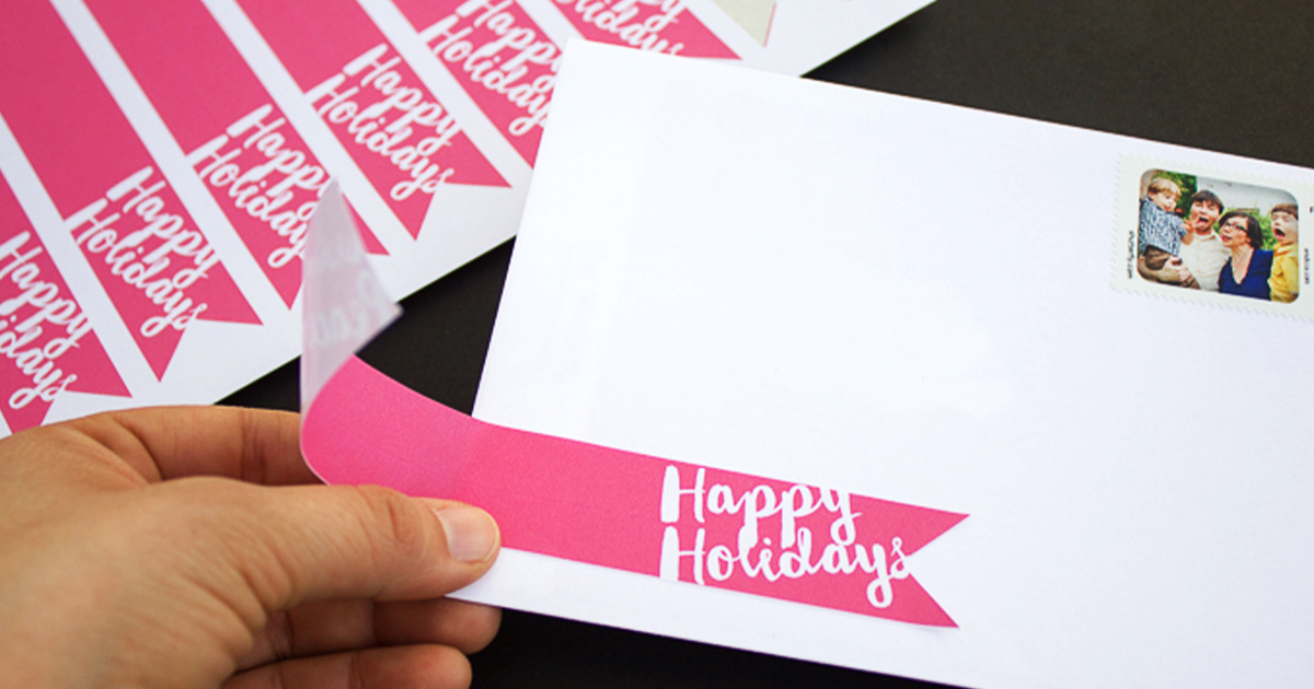 Free printable wraparound label template set for holiday cards and mail, how to use: Happy Holidays