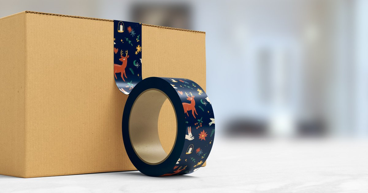 Use holiday packing tape to send the holiday spirit home with your customers
