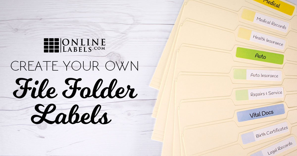 Manila file folders fanned out with printed labels