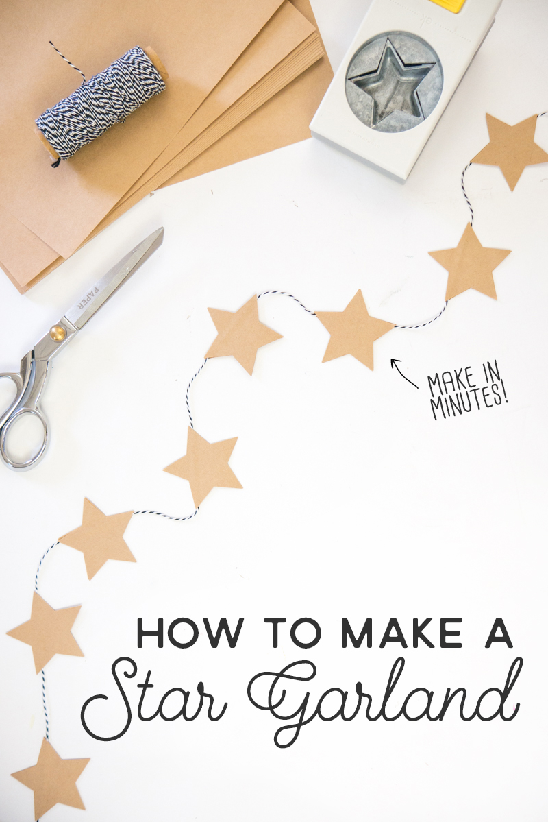 Quick tutorial for making a garland banner with brown kraft star stickers