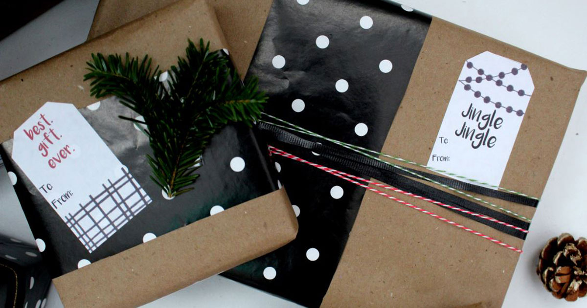 Classy Christmas gift tag label templates for gift giving during the holidays; free printable