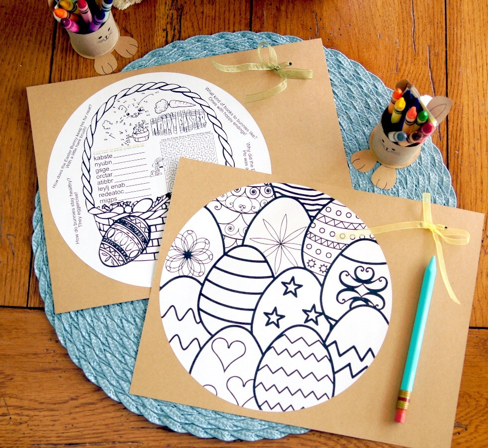 Fun idea for kids during Easter lunch/dinner: activity sheets for the table