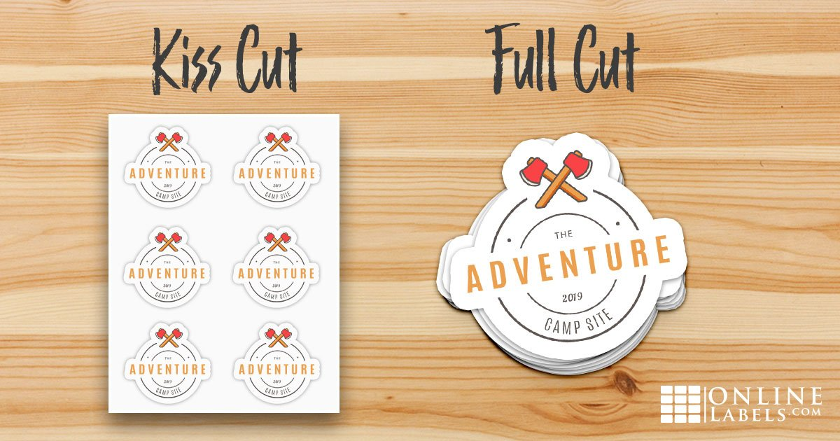 The different types of sticker cuts you can make with an electronic cutting machine: kiss cut stickers and full cut stickers