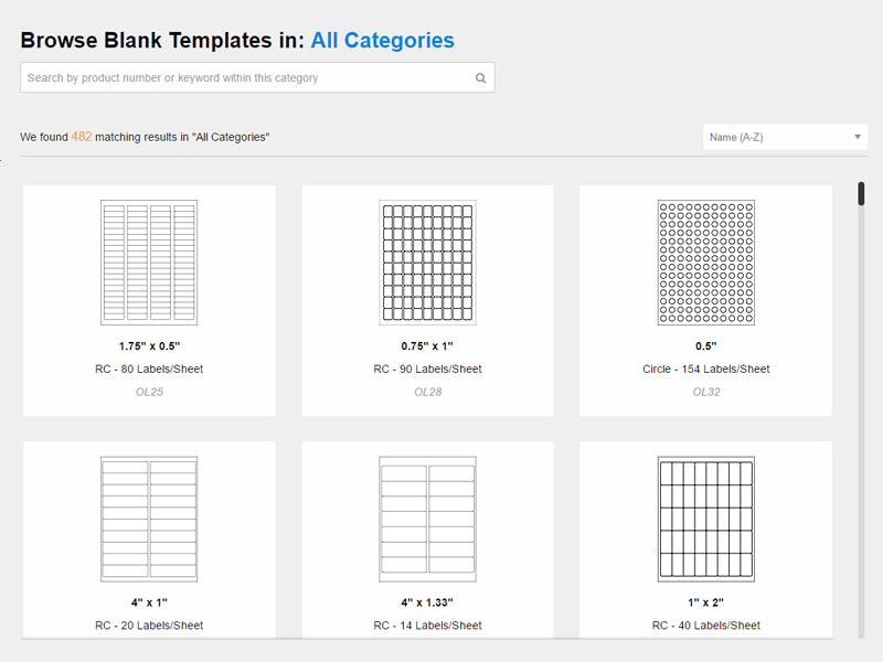 Blank label templates