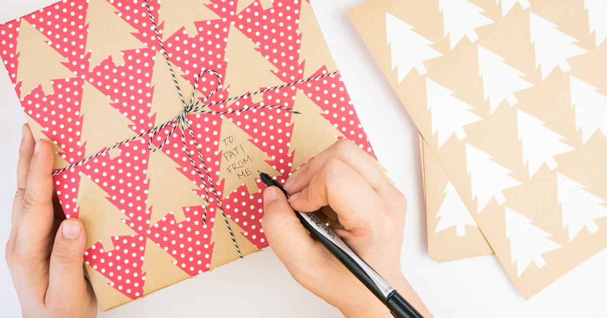 Homemade wrapping paper made from labels that you can write to/from information on
