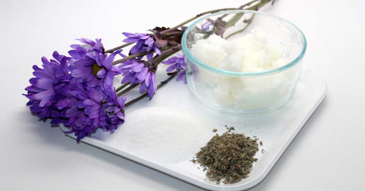 Ingredients for handmade lavendar sugar scrub