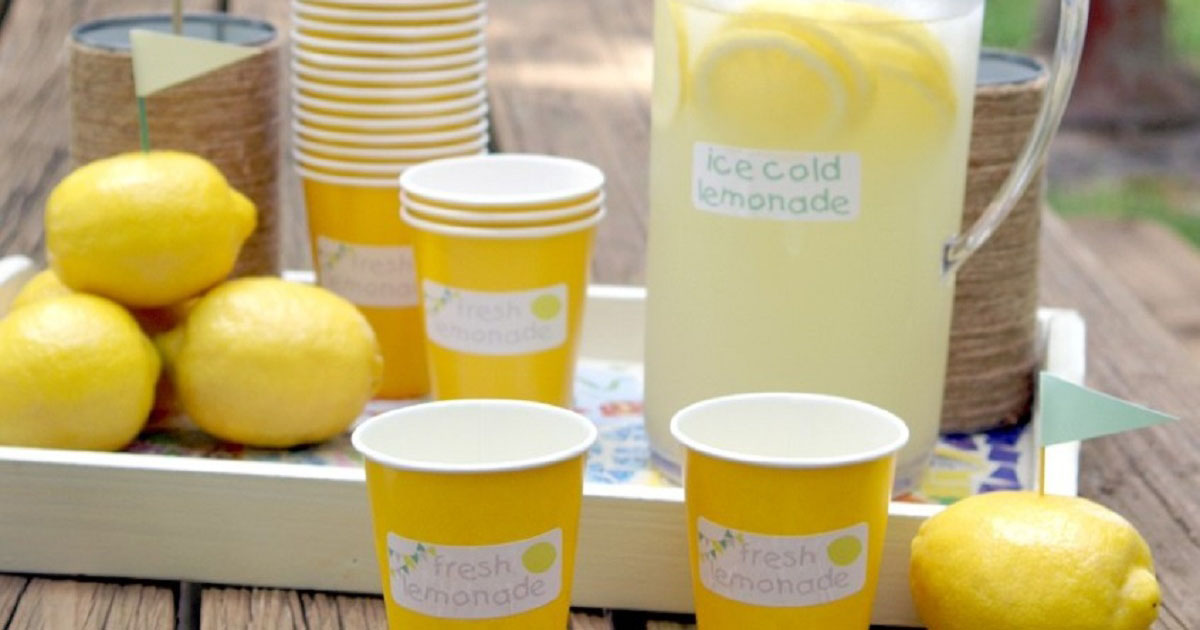 Label the pitcher of lemonade you're serving at your cul-de-sac lemonade stand