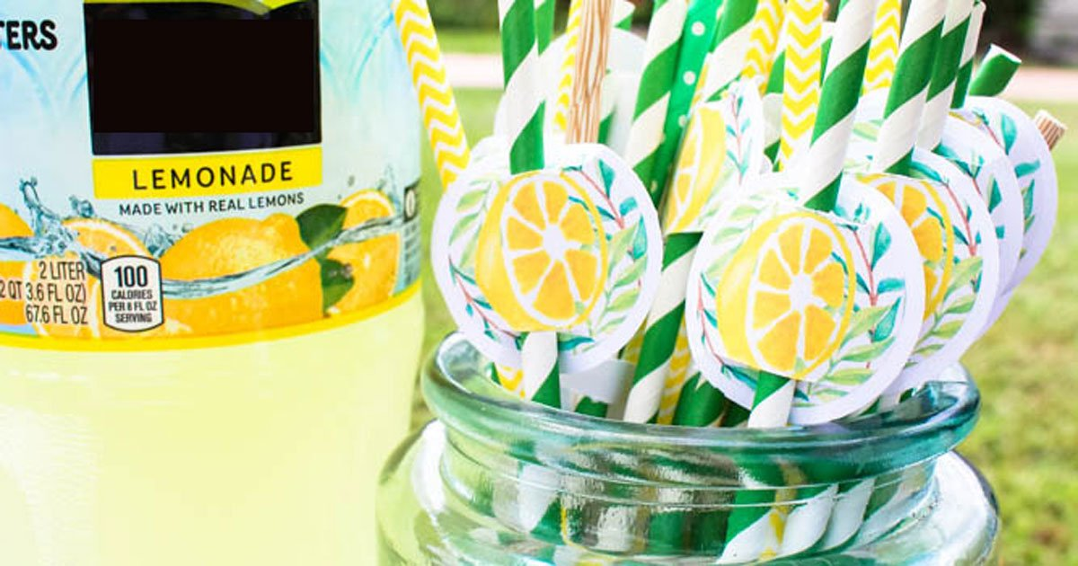 Add stickers to cardstock to create straw labels for your lemonade stand