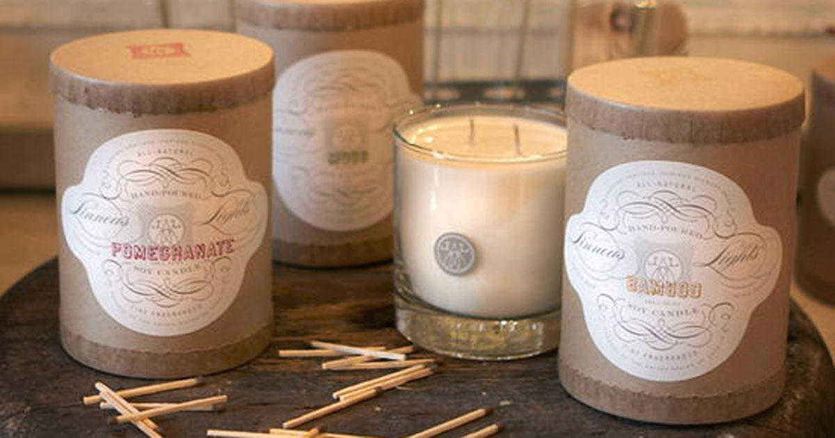 Candle jar packaging/container with a soap band-style product label