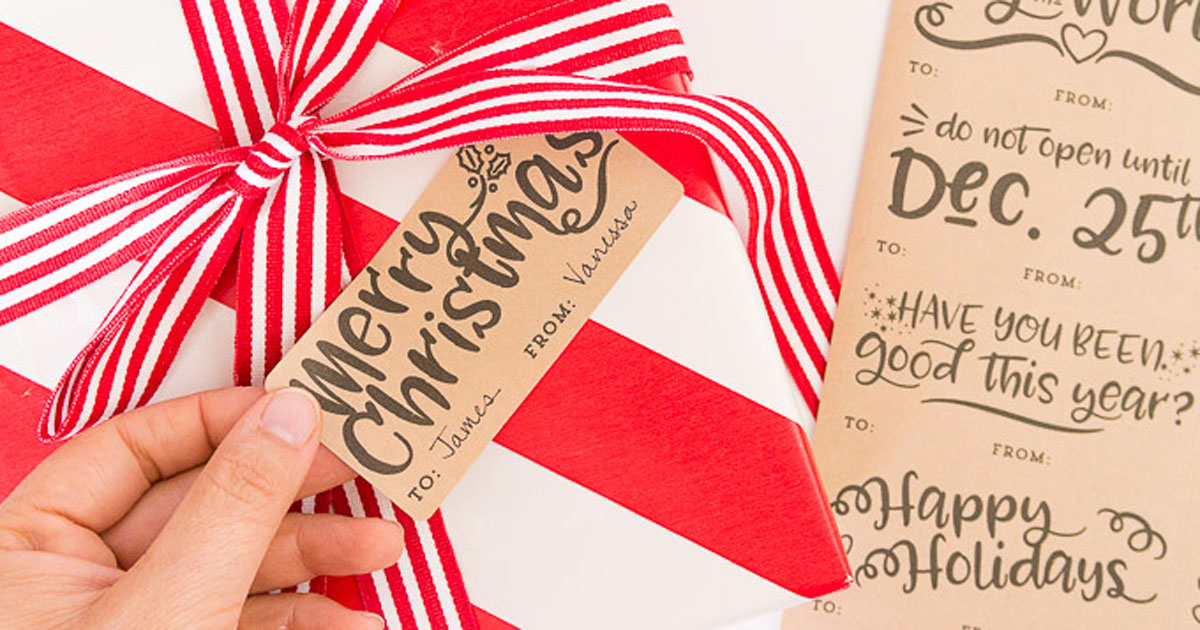 DIY Christmas sayings on present gift tag printable sticker, step 3