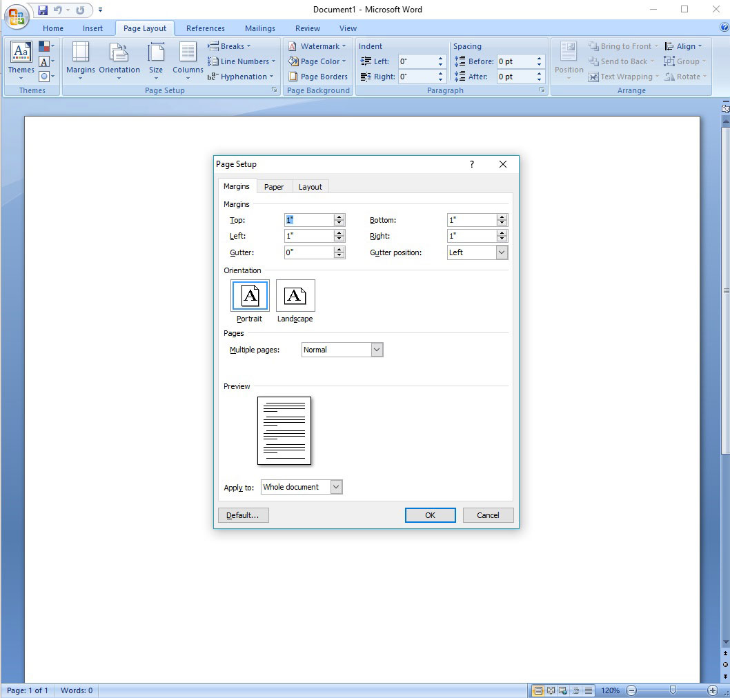 Adjusting Margins In Microsoft Word Custom Dialog Box