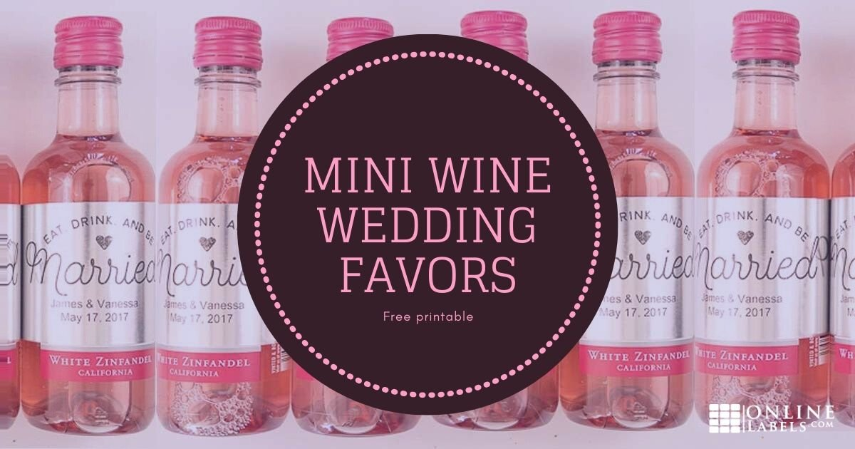 DIY mini wine or champagne bottle wedding favors with couple's name and wedding date
