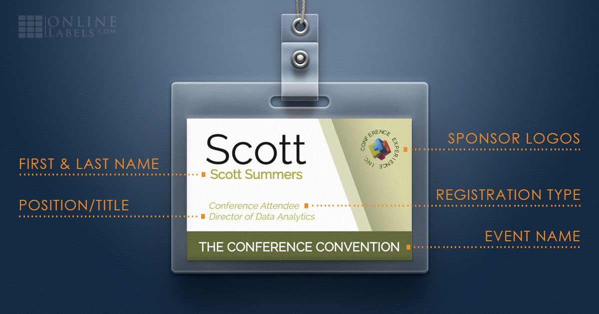 Breakdown of what information to include on conference/event name tags and badges
