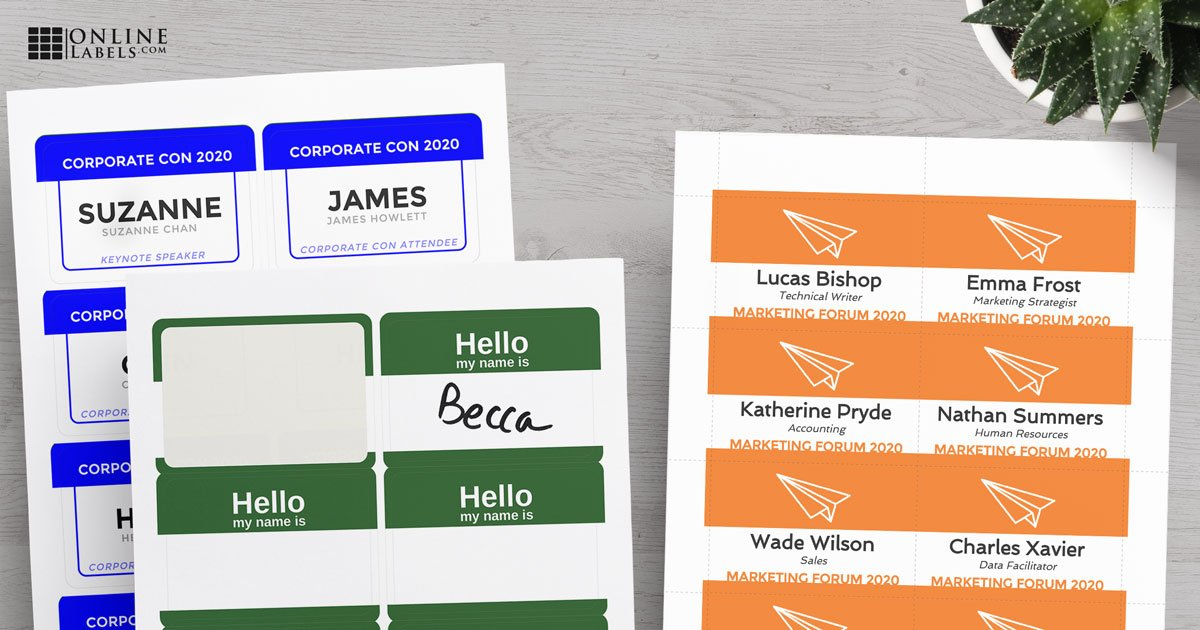 Name tag stickers (printed and write-in) beside name tag insert
