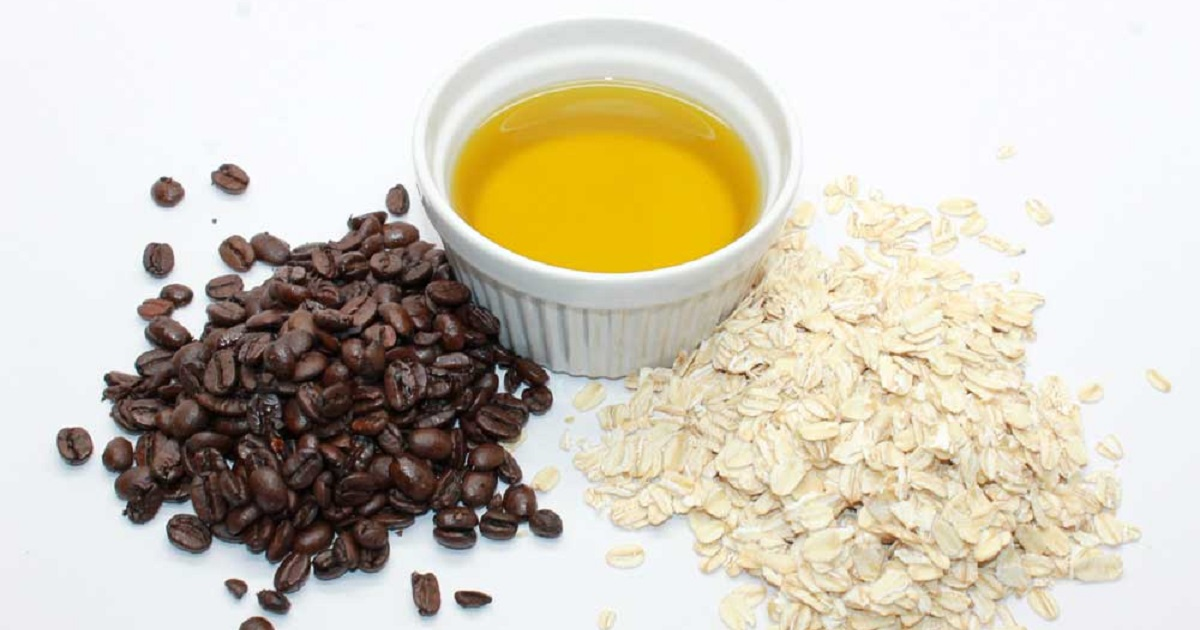 Ingredients to make homemade oatmeal and coffee scrub